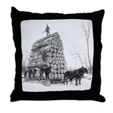 Loggers At Work Throw Pillow