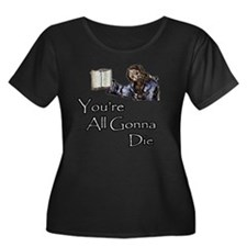 Nostrada Women's Plus Size Dark Scoop Neck T-Shirt