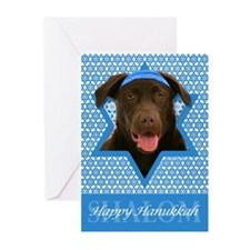 Hanukkah Star of David - Choc Lab Greeting Cards (