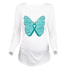 Butterfly Ovarian Cancer Ribbon Long Sleeve Matern