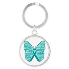 Butterfly Ovarian Cancer Ribbon Round Keychain