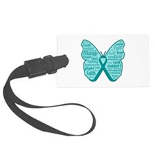 Butterfly Ovarian Cancer Ribbon Large Luggage Tag