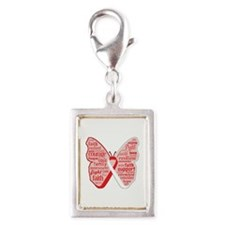 Butterfly Oral Cancer Ribbon Silver Portrait Charm