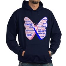 Butterfly Male Breast Cancer Hoodie