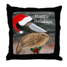 Santa Pelican Holiday Throw Pillow From Art Throw