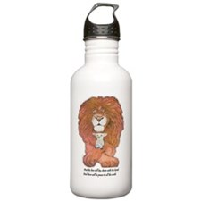 3-lion and lamb very v Water Bottle