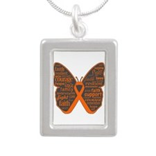Butterfly Leukemia Ribbon Silver Portrait Necklace