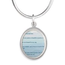 Love verse Silver Oval Necklace