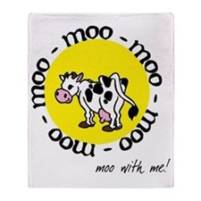 moo_with_me_moon Throw Blanket