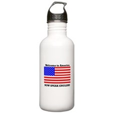 Welcome to America. Speak English Water Bottle