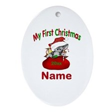 1st Christmas Kitty Personalized Ornament (Oval)