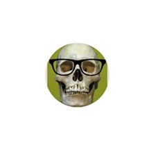 Hipster Skull Wearing Eye Glasses Humor Goth Mini