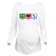 Peace Love Ski Long Sleeve Maternity T-Shirt