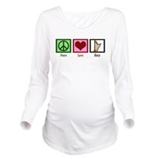 Peace Love Harp Long Sleeve Maternity T-Shirt