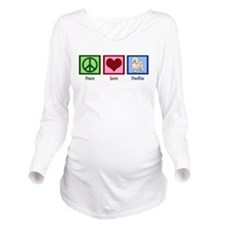 Peace Love Poodles Long Sleeve Maternity T-Shirt