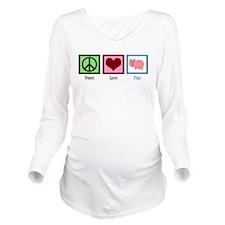 Peace Love Pigs Long Sleeve Maternity T-Shirt