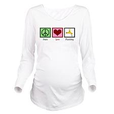 Peace Love Plumbing Long Sleeve Maternity T-Shirt