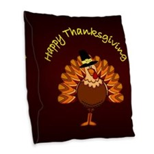 Happy Thanksgiving Burlap Throw Pillow