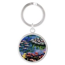 Monet Waterlilies Round Keychain