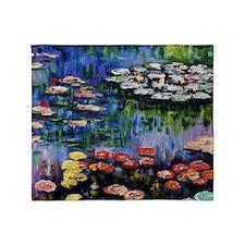 Monet Waterlilies Throw Blanket