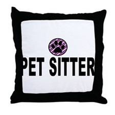 Pet Sitter Purple Circle Paw Throw Pillow