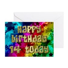 14th Birthday card with stars. Greeting Cards