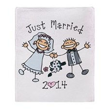 Stick Just Married 2014 Throw Blanket