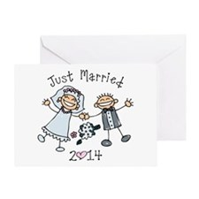 Stick Just Married 2014 Greeting Card