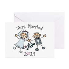 Stick Just Married 2014 Greeting Cards (Pk of 10)