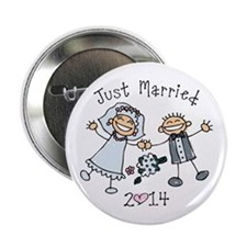 "Stick Just Married 2014 2.25"" Button"
