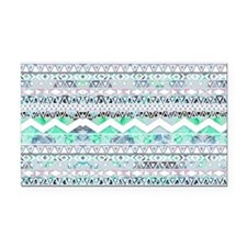 Teal Girly Floral White Abstr Rectangle Car Magnet
