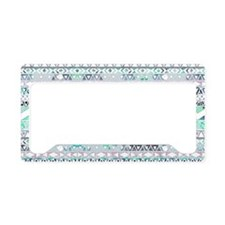 Teal Girly Floral White Abstr License Plate Holder