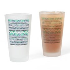 Teal Girly Floral White Abstract Az Drinking Glass