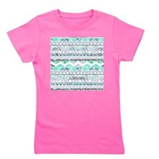Teal Girly Floral White Abstract Aztec  Girl's Tee