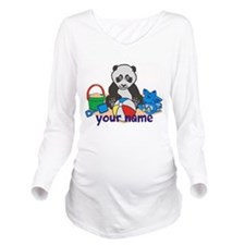 Personalized Beach Panda Long Sleeve Maternity T-S