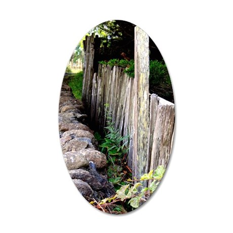 Fence along the path. 35x21 Oval Wall Decal