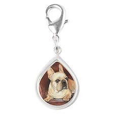 French Bulldog Silver Teardrop Charm