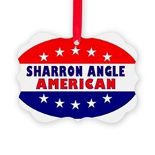 OvalStickerSharronAngleAmerican Ornament