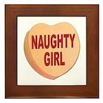 Naughty Girl Valentine Heart Framed Tile