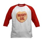 Naughty Girl Valentine Heart (Front) Kids Baseball