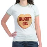 Naughty Girl Valentine Heart Jr. Ringer T-Shirt