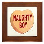 Naughty Boy Valentine Heart Framed Tile