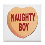Naughty Boy Valentine Heart Tile Coaster