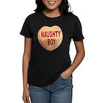 Naughty Boy Valentine Heart (Front) Women's Dark T