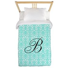 Aqua White Damask Monogram Twin Duvet
