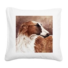 Borzoi Head Square Canvas Pillow