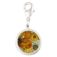 Vincent with Sunflowers - Silver Round Charm