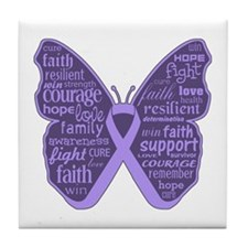 Butterfly General Cancer Tile Coaster