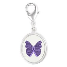 Butterfly General Cancer Silver Oval Charm