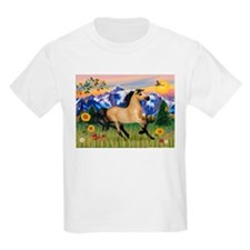Mt. Country Buckskin Horse Kids T-Shirt